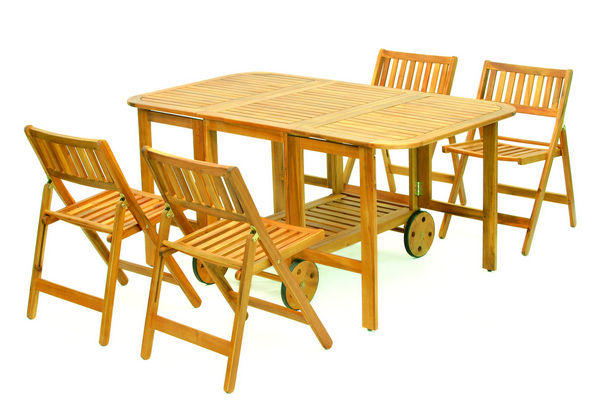 ACACIA FOLDING LUNCH SET WITH WHEELS TABLE CM. 150X90X70H - CHAIR CM. 45X51X77H�
