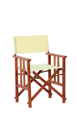 EUCALYPTUS FSC DIRECTOR CHAIR WITH POLYESTER ECRU CM. 53X58X87H �