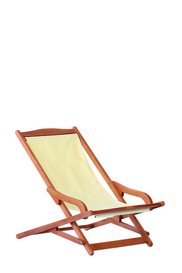 EUCALYPTUS FSC RELAX CHAIR WITH POLYESTER ECRU CM. 115X62X78H �