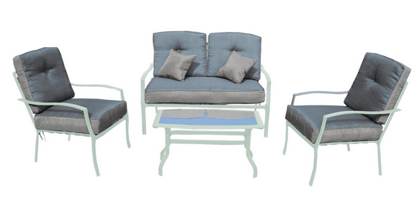 WHITE STEEL SET PCS. 4 WITH CUSHIONS AND PILLOW SOFA SET CM. 130X80X75H - CHAIR CM. 80X63X75H TABLE �