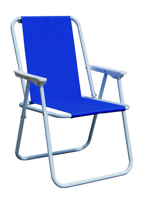 PIC-NIC CHAIR STEEL SILVER TUBE DIAM. 19 CM. 47X57X75H - WITH POLYESTER BLUE �