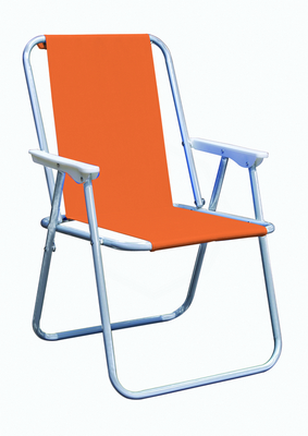 PIC-NIC CHAIR STEEL SILVER TUBE DIAM. 19 CM. 47X57X75H - WITH POLYESTER ORANGE �