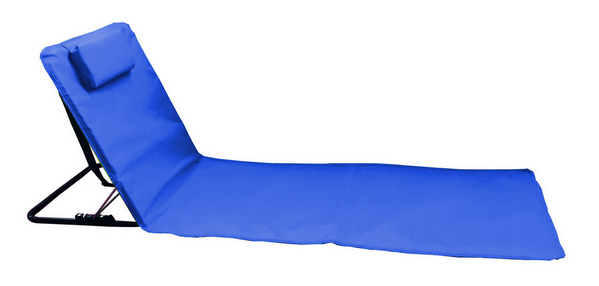 BEACH MAT STEEL TUBE RECLINING 3 POSITION CM. 160X48 POYESTER BLU - WITH CARRY BAG�