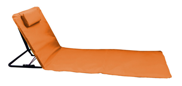 BEACH MAT STEEL TUBE RECLINING 3 POSITION CM. 160X48 POYESTER ORANGE - WITH CARRY BAG�