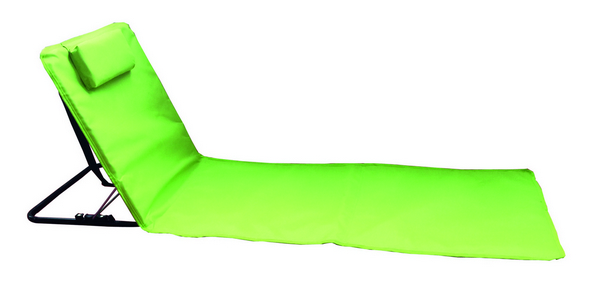 BEACH MAT STEEL TUBE RECLINING 3 POSITION CM. 160X48 POYESTER GREEN - WITH CARRY BAG�