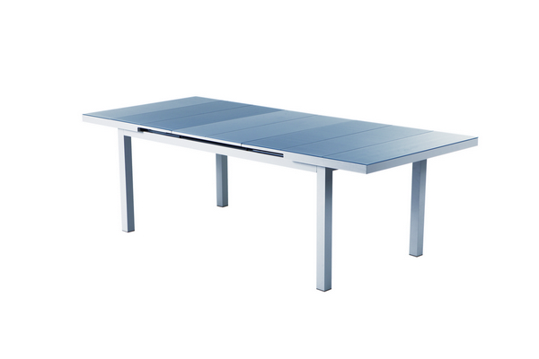ALUMINIUM EXTENDIBLE TABLE CM. 160-210X100X75H WITH GLASS TOP�