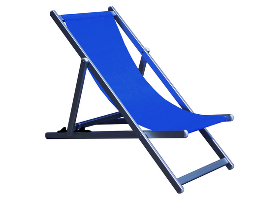 RECLINER 3 POSITION CHAIR ALUMINIUM TUBE MM. 40X20 CM. 98X68X106 - TEXTILENE COVER BLU MELANGE �