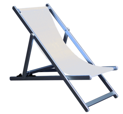 RECLINER 3 POSITION CHAIR ALUMINIUM TUBE MM. 40X20 CM. 98X68X106 - TEXTILENE COVER WHITE �