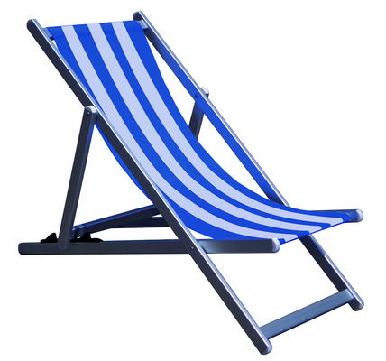 RECLINER 3 POSITION CHAIR ALUMINIUM TUBE MM. 40X20 CM. 98X68X106 - TEXTILENE COVER WHITE - BLU�