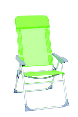 RELAX CHAIR ALUMINIUM TUBE DIAM. 22 CM. 61X62X113H 5 POSITION RECLINER TEXTILENE COVER GREEN - WITH �