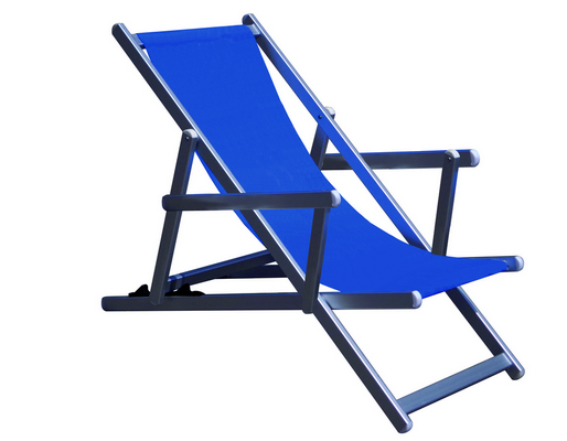 RECLINER 3 POSITION CHAIR ALUMINIUM TUBE MM. 40X20 WITH ARMS CM. 98X68X106 TEXTILENE COVER BLU MELAN�