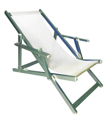 RECLINER 3 POSITION CHAIR ALUMINIUM TUBE MM. 40X20 WITH ARMS CM. 98X68X106 TEXTILENE COVER WHITE�