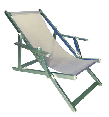 RECLINER 3 POSITION CHAIR ALUMINIUM TUBE MM. 40X20 WITH ARMS CM. 98X68X106 TEXTILENE COVER NATURAL M�