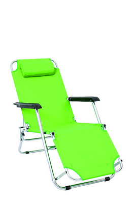 BEACH - BED CHAIR ALUMINIUM TUBE DIAM. 25 CM. 153X58X70H - WITH TEXTILENE GREEN LIME AND PILLOW �