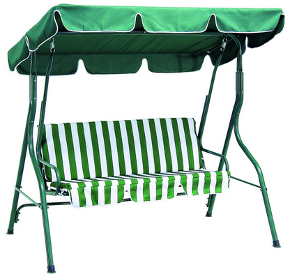 SWING 3 SEATS CM. 170X110X153H GREEN STEEL FRAME DIAM. MM. 38 POWDER COATED CUSHIONS POLYESTER 140 G�