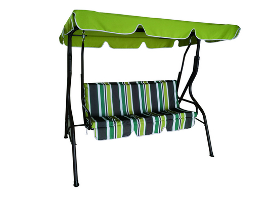 SWING 3 SEATS CM. 170X110X153H BROWN STEEL FRAME DIAM. MM. 38 CUSHIONS POLYESTER 140 GR./MQ. STRIPES�