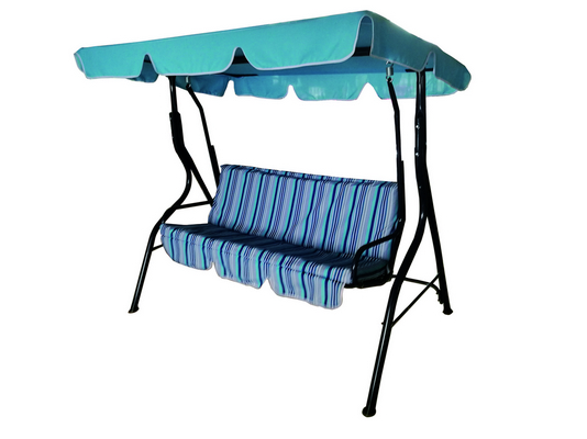SWING 3 SEATS CM. 170X110X153H BLU STEEL FRAME DIAM. MM. 38 CUSHIONS POLYESTER 140 GR./MQ. STRIPES L�