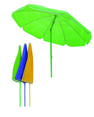 BEACH UMBRELLA DIAM. 180 - COLORED STEEL POLE DIAM. 22 8 STEEL RIBS - TNT COVER GREEN BLU YELLOW WIT�