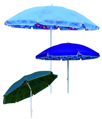 BEACH UMBRELLA DIAM. 200 STEEL POLE MM. 32 8 STEEL RIBS - WITH PLASTIC TILT POLYESTER DUPLEX COVER �