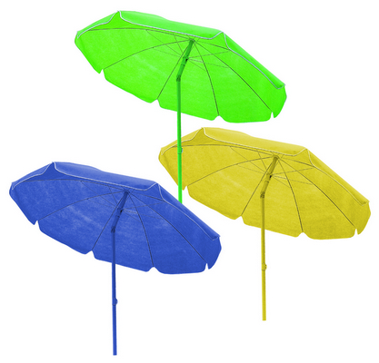 BEACH UMBRELLA DIAM. 200 - COLORED STEEL POLE MM. 32 8 STEEL RIBS - WITH PLASTIC TILT TNT COVER GREE�