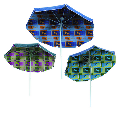 BEACH UMBRELLA DIAM. CM. 200 STEEL POLE MM. 32 8 STEEL RIBS - WITH PLASTIC TILT COTTON DUPLEX COVER�