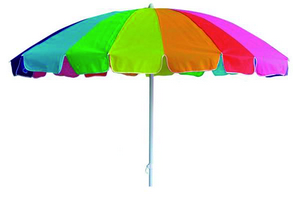 BEACH UMBRELLA CM. 220 - STEEL POLE 32 - 32 - PLASTIC TILT 10 STEEL RIBS - TNT RAINBOW - PVC BAG�