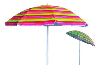 BEACH UMBRELLA CM. 200 - STEEL POLE 32 - 32 PLASTIC TILT -8 STEEL RIBS- POLYESTER STRIPES - PVC BAG�