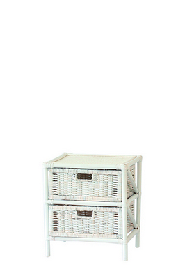 RATTAN CHEST 2 DRAWERS SOLID WHITE CM. 45X37X50H �