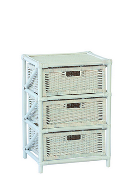 RATTAN CHEST 3 DRAWERS SOLID WHITE CM. 45X37X65H�