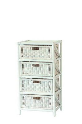 RATTAN CHEST 4 DRAWERS SOLID WHITE CM. 45X37X85H �