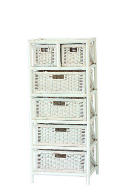 RATTAN CHEST 6 DRAWERS SOLID WHITE CM. 45X37X105H�