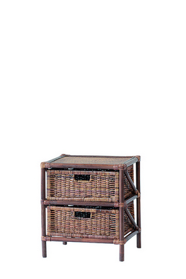 RATTAN CHEST 2 DRAWERS BROWN CM. 45X37X50H �