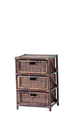 RATTAN CHEST 3 DRAWERS BROWN CM. 45X37X65H�