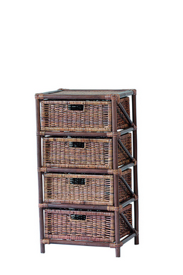 RATTAN CHEST 4 DRAWERS BROWN CM. 45X37X85H �