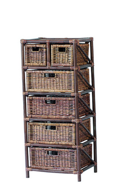 RATTAN CHEST 6 DRAWERS BROWN CM. 45X37X105H�