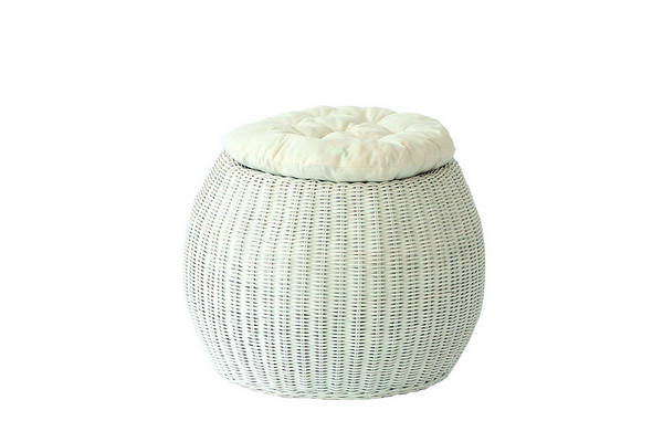 POUFF PLANET SOLID WHITE WITH WHITE CUSHION DIAM. CM. 45X33H�