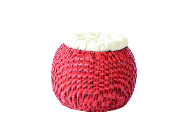 POUFF PLANET SOLID RED WITH WHITE CUSHION DIAM. CM. 45X33H�