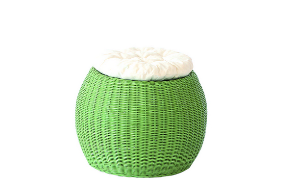 POUFF PLANET SOLID GREEN WITH WHITE CUSHION DIAM. CM. 45X33H�