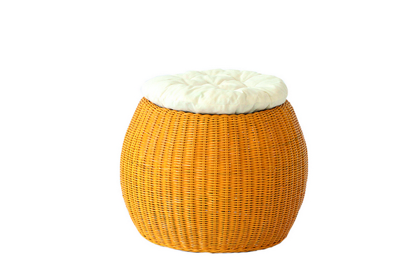 POUFF PLANET SOLID YELLOW WITH WHITE CUSHION DIAM. CM. 45X33H�