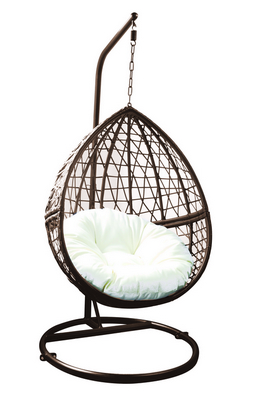 POLYRATTAN SWING CHAIR WITH STEEL BASE BROWN AND ECRU' CUSHIONS CM. 108X69X192H�