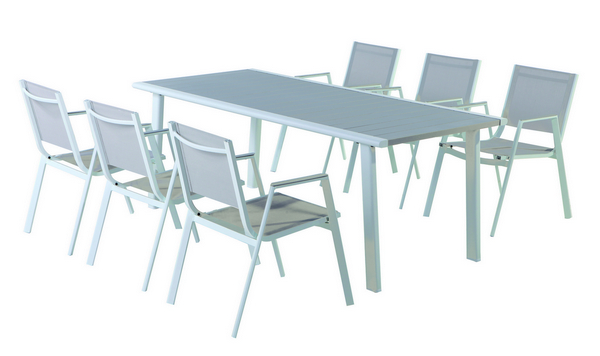 ALUMINIUM TABLE CM. 200X90X74H WITH GREY ALUMINIUM TOP - WHITE LEGS �