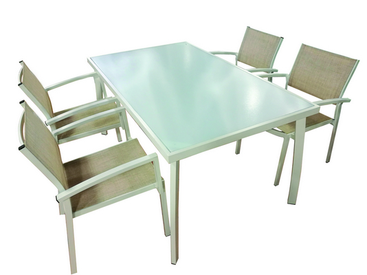 WHITE ALUMINIUM TABLE CM. 150X90X74H WITH GLASS TOP �