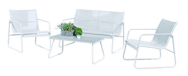 K.D. WHITE STEEL SOFA SET WITH TEXTILEEN CHAIR CM. 59X72X75H - SOFA CM.112X72X75 COFFEE TABLE CM. 85�