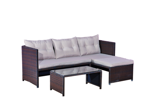 SOFA SET STEEL POLYRATTAN WITH CORNER